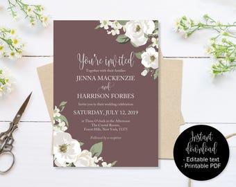 Beige Wedding Invitation, Beige White Green Wedding Invite Printable, Wedding Template Download PDF, Invitations Wedding, Editable Wedding