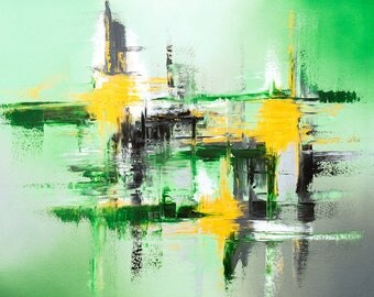 Abstract fine art print in green gray and gold