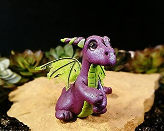 Polymer Clay Dragon * Polymer Clay Sculpture * Dragon Figurine * Dragon Statue * OOAK * One Of A Kind * Fantasy Art * Purple & Green Dragon