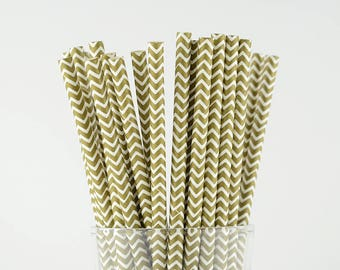 Gold Chevron Paper Straws - Mason Jar Straws - Party Decor Supply - Cake Pop Sticks - Party Favor