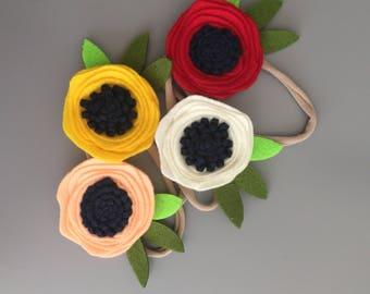 Felt Flower Headband {Nylon Headband}{Headband}{Baby Girl}{Flower}