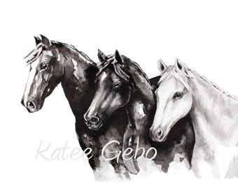 Horse Wall Art PRINTABLE DIGITAL DOWNLOAD, Black and White Horse Painting, Print of Original Horse Painting in Ink, Minimalist Horse Art