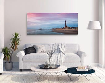 Blackpool Tower Canvas Seascape Pink Blue Panorama Wall Art Picture Home Decor