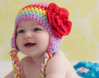 Knit multicolor hat with flowers