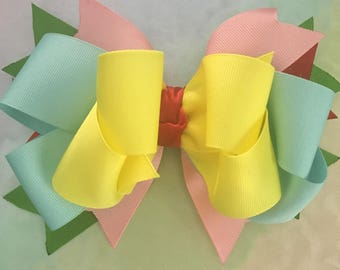 Multi Color Boutique Hair Bow Barrette