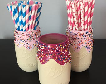 mason jar sprinkles, cupcake jar, sprinkle jar, donut party, party favor, 1st birthday, baby shower