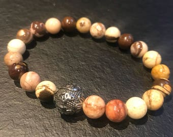 Natural beaded bracelet and stainless steel Tibetan prayer bead