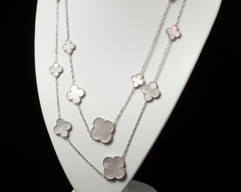 Inspired Necklace Clover Necklace Wedding Necklace Bridal Necklace Flower Botanic Necklace Inspired Jewelry Layering Necklace Clover Jewelry