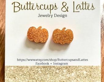 Orange Shimmer Pumpkin Stud Earrings