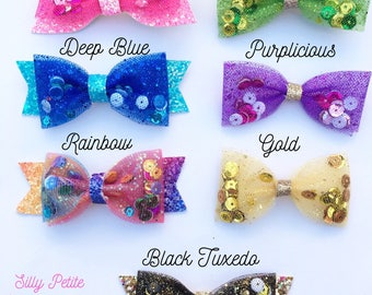 Rainbow Bow, Tulle Bow, Glitter sequin bow, Rainbow Hairclip with/without Tail