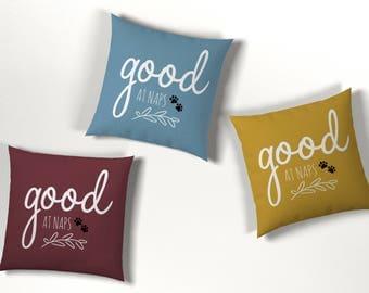 Good At Naps Print Cushion: Blue, Mustard, Maroon