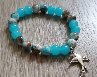 Bracelets perles en verre et charms argent vieilli