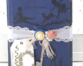 BOOK BUNDLE DISPLAY~set of 2 vintage school books upcycled shabby chic appeal