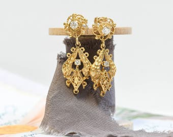 Vintage Victorian Style 14k Yellow Gold Diamond Dangle Earrings Circa 1950s