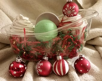 Bath Bomb Gift Set, Premium Luxury Bath Bomb, Sugar Scrub Gift Set, Christmas Gift, For Her or Him, Made in USA, Bath Bomb Cupcake
