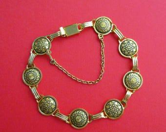 Vintage Damascene Bracelet - Black and Gold
