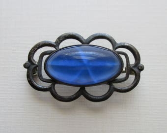 Blue Glass Star Sapphire Pin - Sterling Silver - Art Deco