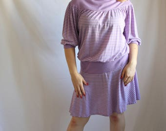 Purple and White Stripped Drop Waist Dress