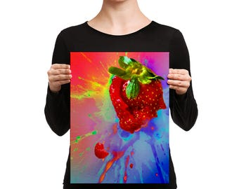 "Alive You – 12"" X 16"" Colorful Exploding Strawberry – Canvas Art Print"