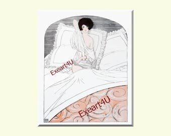 Leonnec Art Deco Mode Fashion Style Erotic Bedroom Scene Female Beauty Art Picture Print