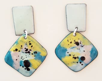 enamel on copper earrings - tropical squares