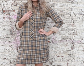 70s flannel dress, vintage dress