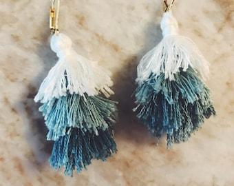 Blue Multi-Layered Tassel Earrings