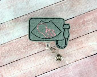 Sonogram Badge Reel - Ultrasound Badge - Labor and Delivery- Badge Reel - Feltie Badge Reel- Retractable ID Badge Holder - Badge Pull