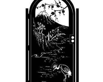 Metal Art Gate - Decorative Steel - Japanese Water Garden - Steel Gate - Japanese Watercolor Gate - Forest Gate - Steel Art Panel