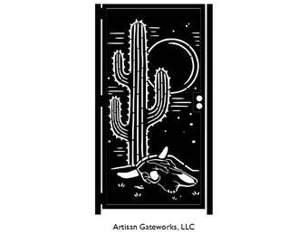 Saguaro Decorative Steel Gate - Desert Metal Art - Southwest Style Wall Panel Art - Southwest Driveway Gate - Desert Security Door