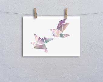 Geometric Birds A4 Print