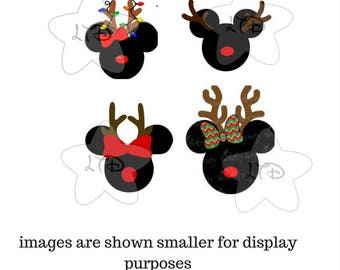 Mickey and Minnie Reindeer Heads Iron On Transfer