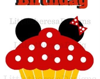 Happy Birthday Cupcake Iron On Transfer