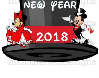 Mickey and Minnie Happy New Year Transfer,Digital Transfers,Digital Iron Ons,Diy