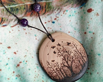 Forest necklace gift for her - tree forest jewelry nature lover gift - mori girl wooden jewelry handmade - botanical jewelry rustic pendant