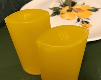 Vintage Lemon Yellow Plastic Salt and Pepper Shakers