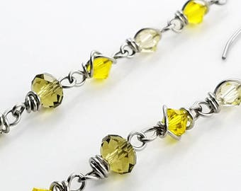 Summer Yellow: Stainless Steel Wire-Wrapped Swarovski Crystal Dangle Earrings