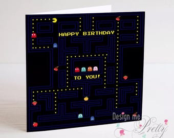 Pac Man Birthday Card - retro arcade game
