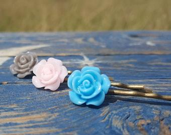 3 piece hair pin set gray, pale pink, teal
