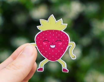 Dancing Strawberry Sticker - Boogy Berries - fruit sticker