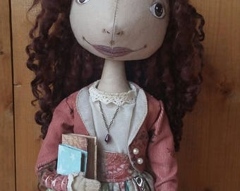 Art doll Girl with books