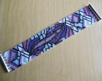 Bracelet peyote stitch grey/old pink
