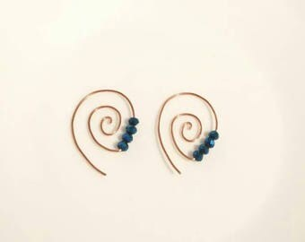 Copper and Crystal Spiral Earrings