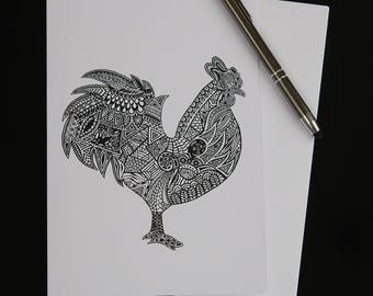 Black and White Rooster Blank Greetings Card