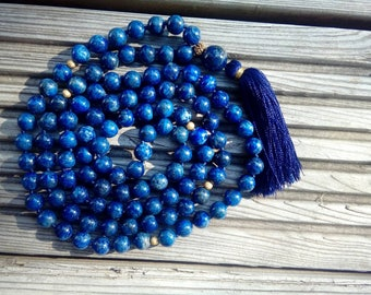 Lazurite mala, Lapis lazuli Mala beads, 108 Mala Bead, Mala Necklace, Prayer Beads, Yoga Jewelry, Japa Mala, Meditation, Lazurite Necklace