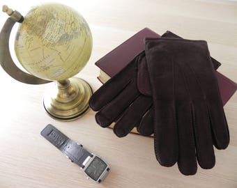Men Velour Cow-hide leather gloves, Classic design, Made in Hungary, Dark Brown, perfect gift, business, classic ffi4