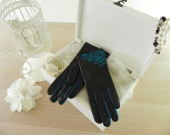 Woman/Ladies Nappa Lambskin leather gloves, Made in Hungary, BLACK/Cyan n9, modern design, everyday use, winter, perfect gift, handmade