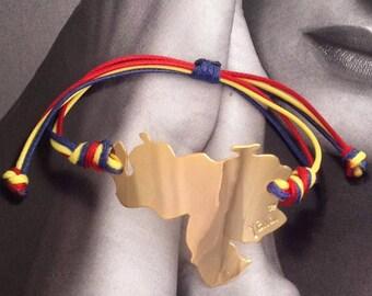 Venezuela map Bracelet. Gold plated. Cordon bracelet. Handmade
