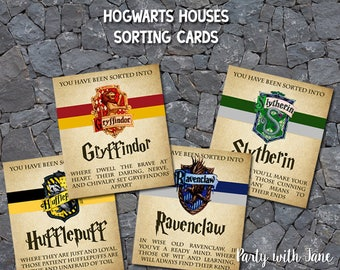 Harry Potter Hogwarts Houses Sorting Cards, Party Favors Games Activity, Gryffindor Slytherin Hufflepuff Ravenclaw, Instant Download