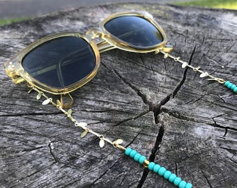 Sunnycord beachy terquoise | terquoise sunnycord, terquoise and gold sunglass holder, sunglass chain